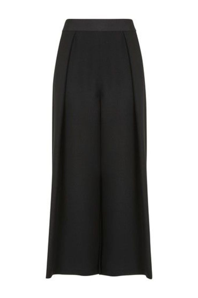 Womens Cropped Wide Leg Trousers - Black, Black