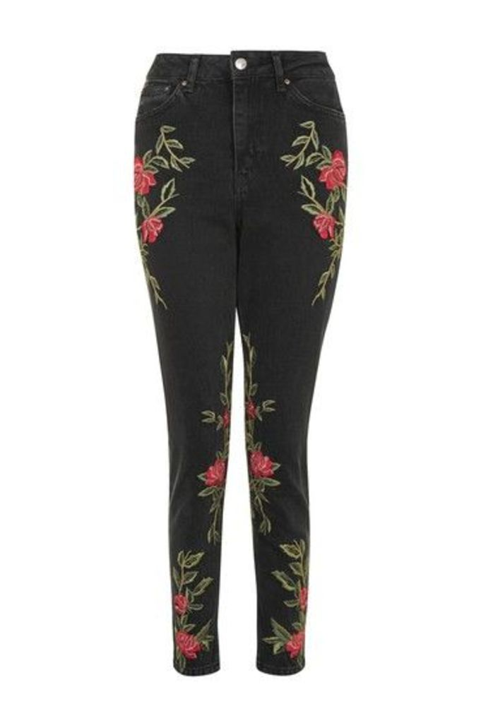Womens TALL Rose Embroidered Mom Jeans - Washed Black, Washed Black