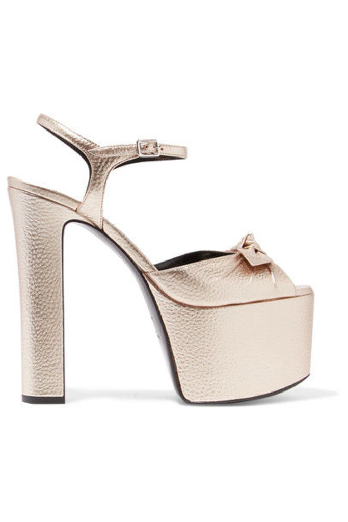 Saint Laurent - Bow-embellished Metallic Textured-leather Platform Sandals - Platinum