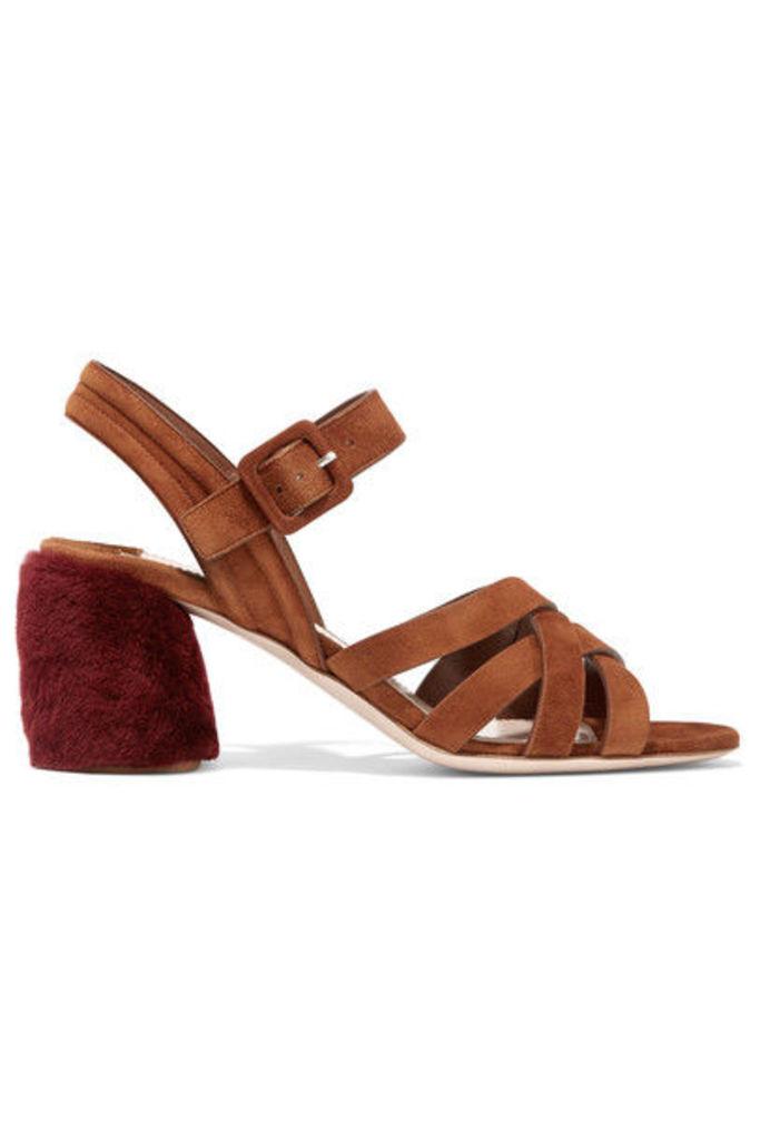 Miu Miu - Shearling-trimmed Suede Sandals - Tan