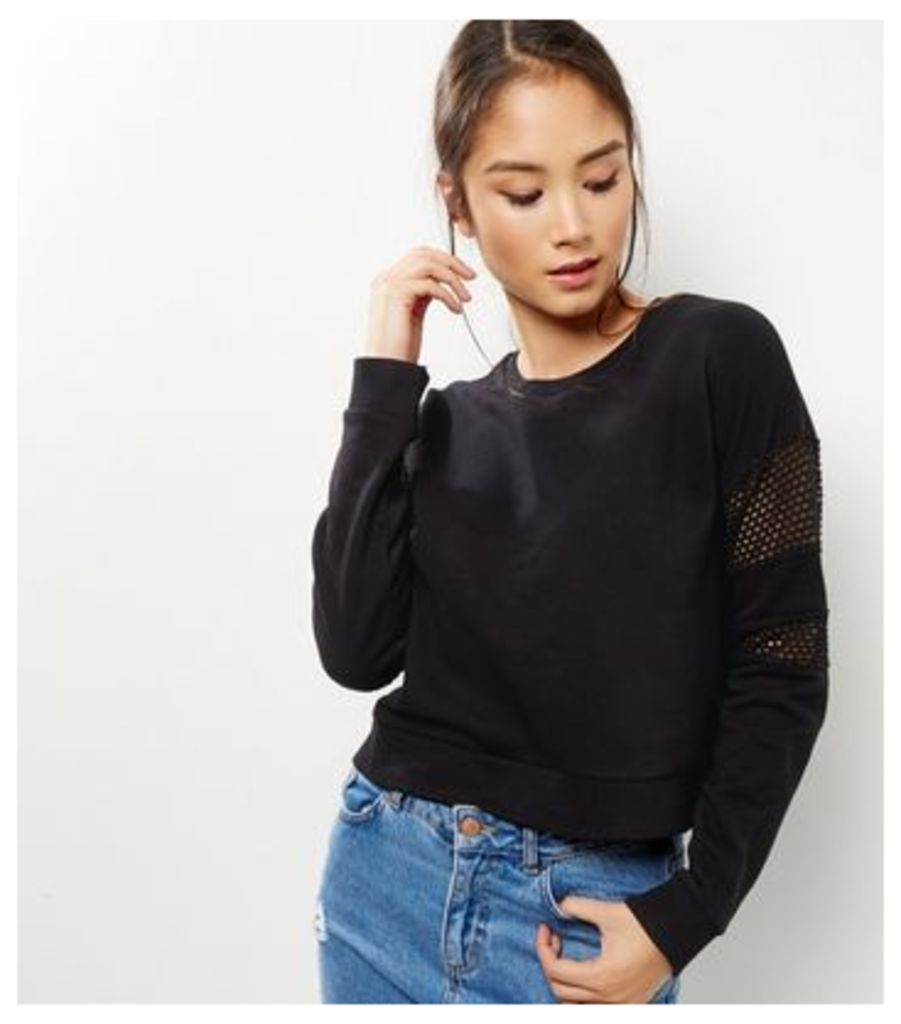 Black Mesh Panel Long Sleeve Cropped Sweater