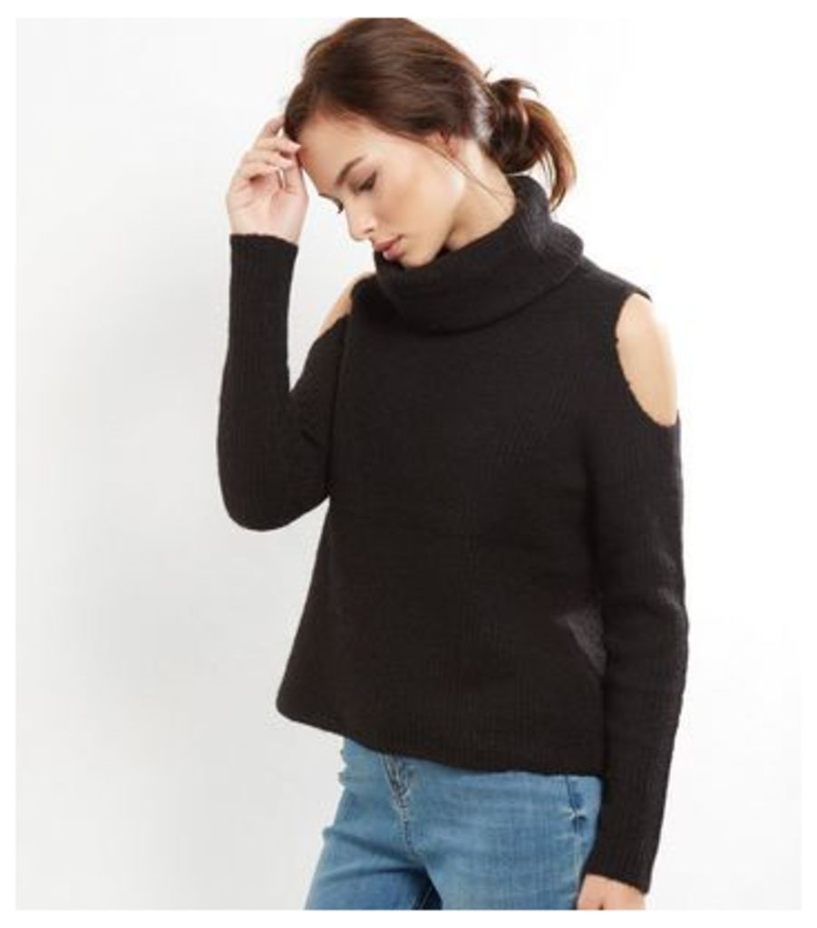 Black Ribbed Turtle Neck Cold Shoulder Jumper