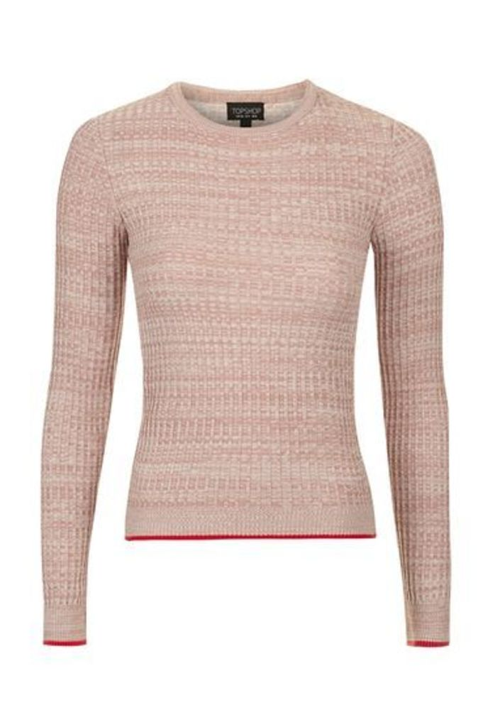 Womens Twist Detailed Marl Top - Pink, Pink