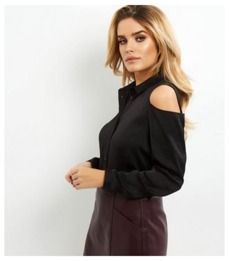 Black Sateen Cold Shoulder Long Sleeve Shirt