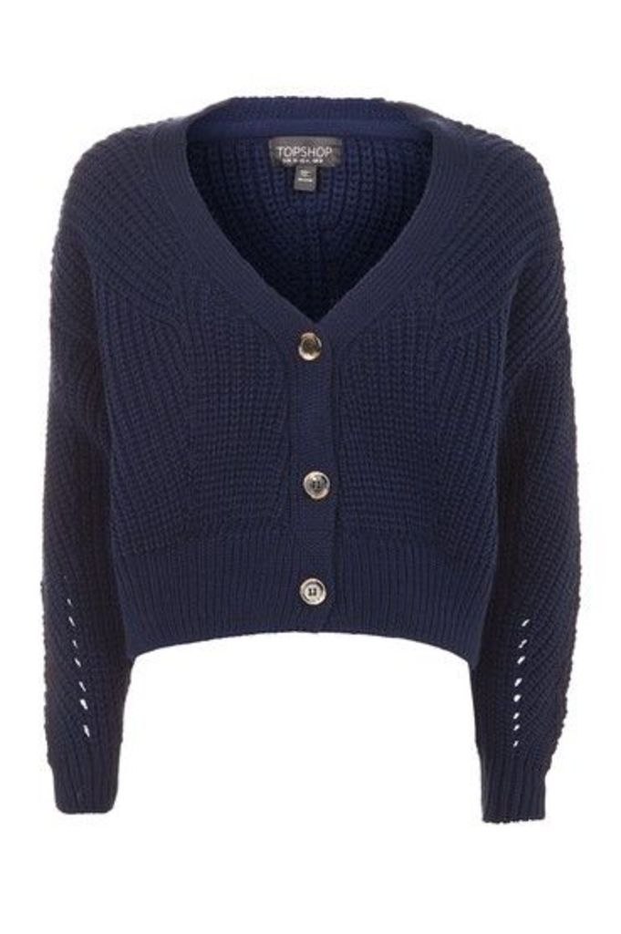 Womens Cropped Fisherman Cardigan - Navy Blue, Navy Blue