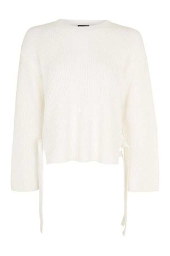 Womens Boxy Ribbed Tie Side Jumper - Ivory, Ivory
