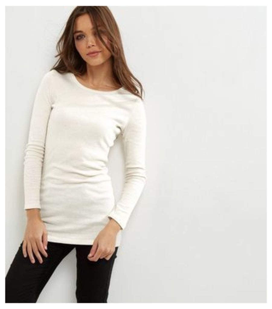 Cream Ribbed Long Sleeve Brushed Tunic