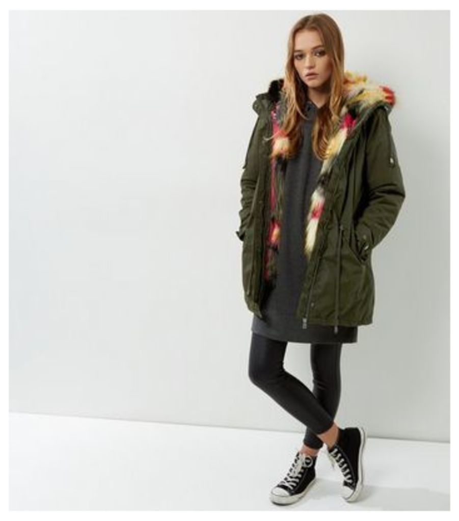 Blue Vanilla Khaki Faux Fur Hooded Parka