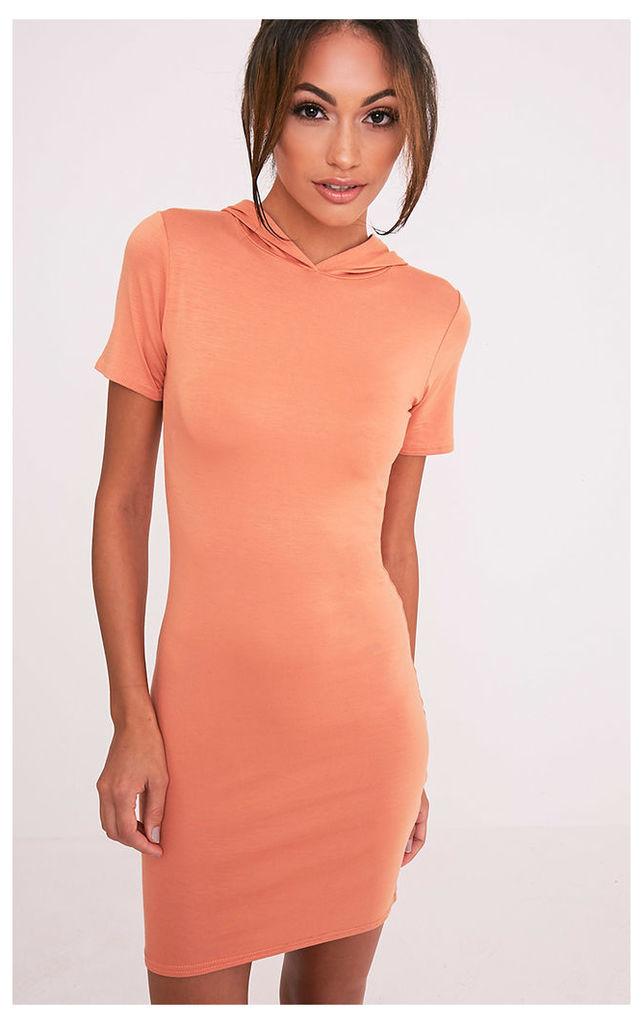 Ruby Deep Peach Jersey Hooded Short Sleeve Bodycon Dress