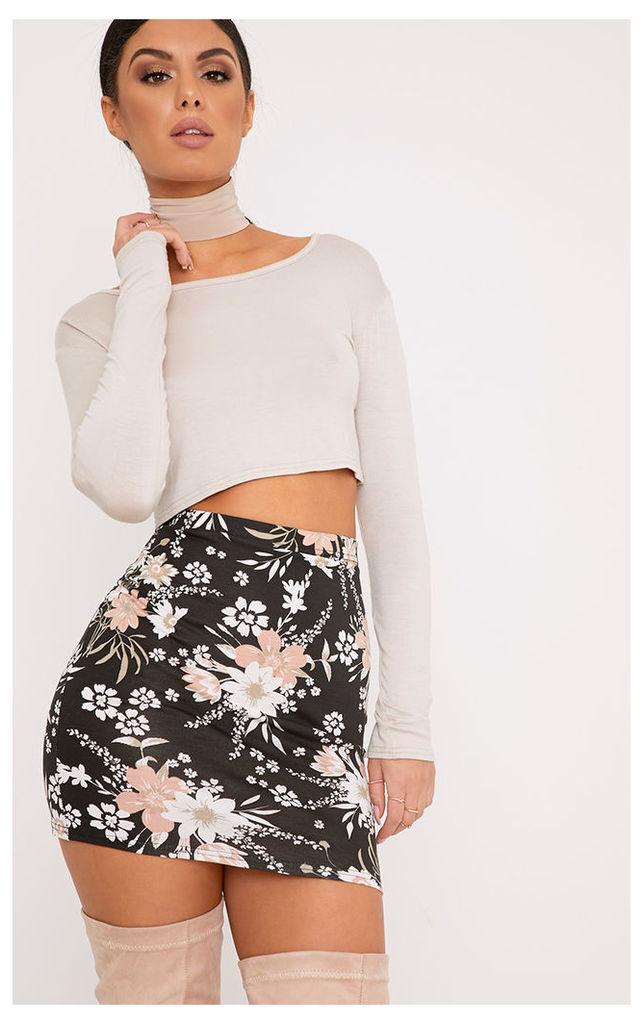 Donya Black Floral Print Mini Skirt