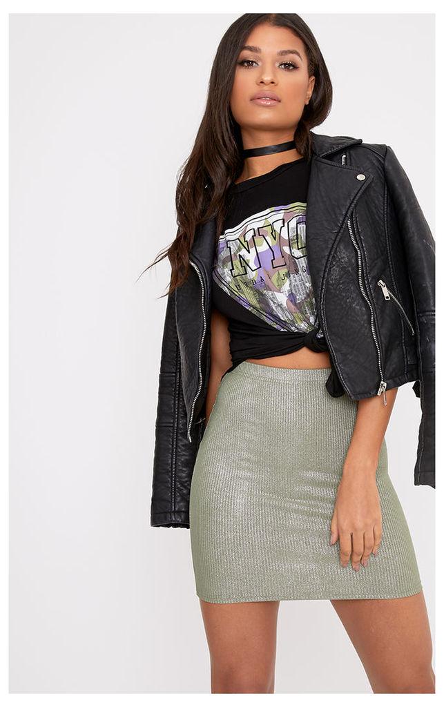 Otavia Khaki Metallic Ribbed Mini Skirt
