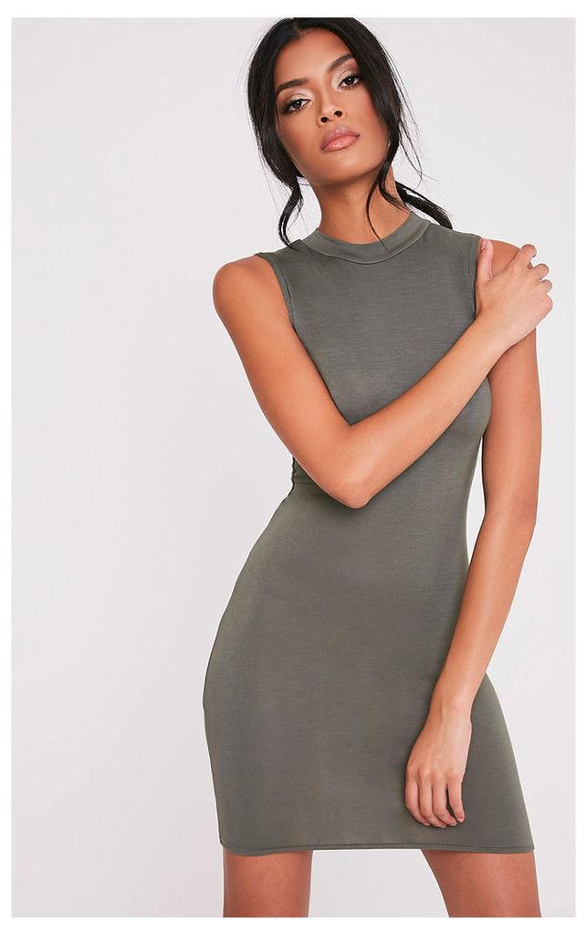 Rebecca Khaki High Neck Bodycon Dress