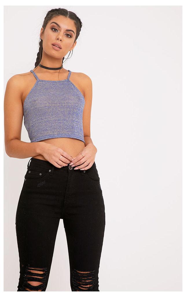 Dealyn Blue Metallic Knit Halterneck Crop Top