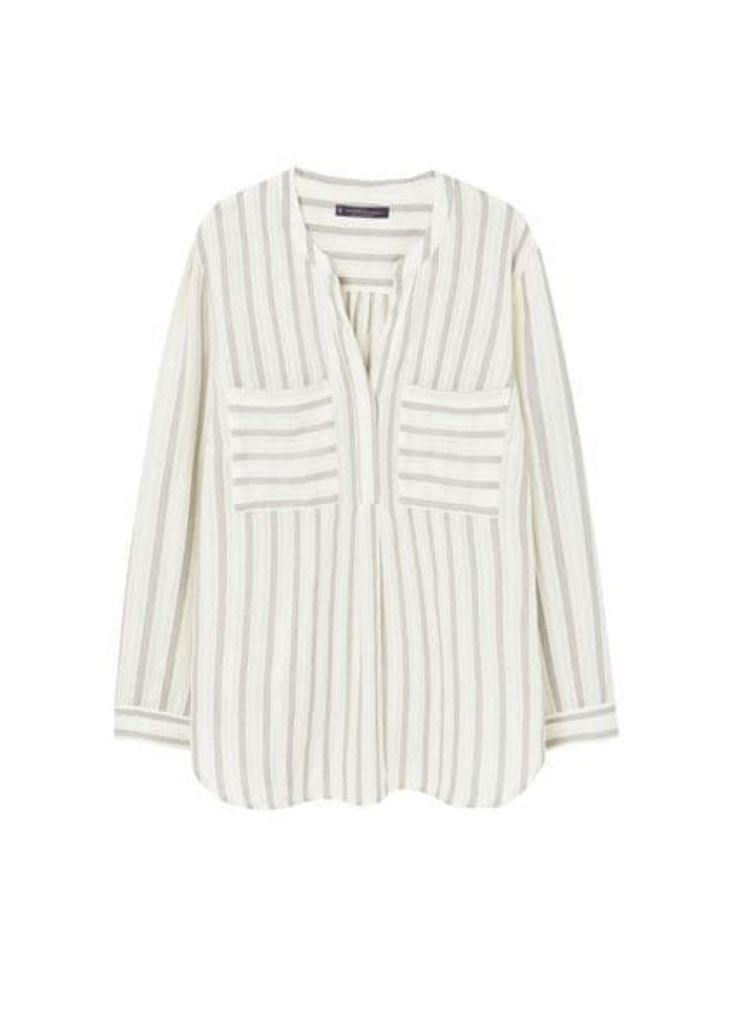 Textured stripe-patterned blouse