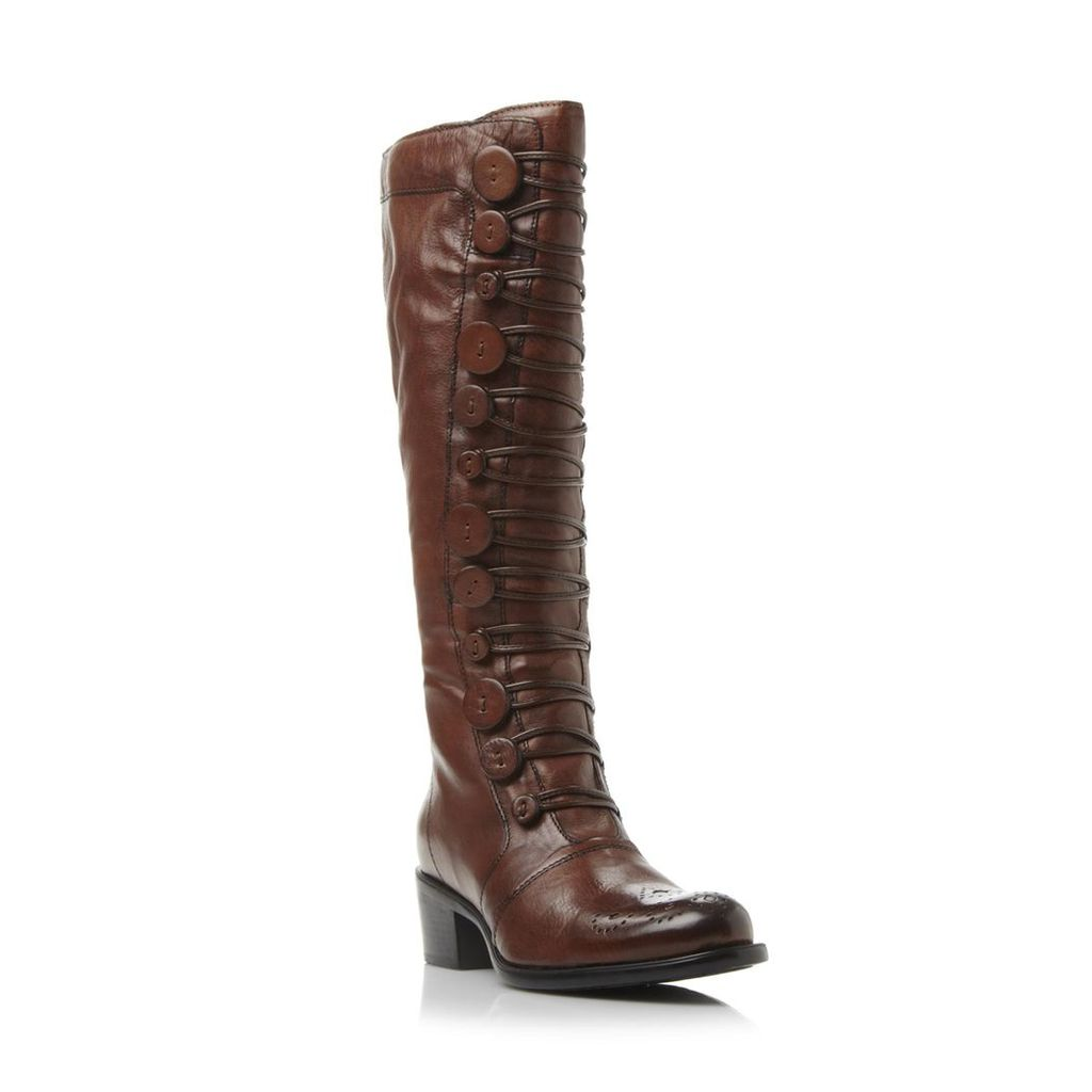 Pixie D Button Detail Leather Knee High Boot