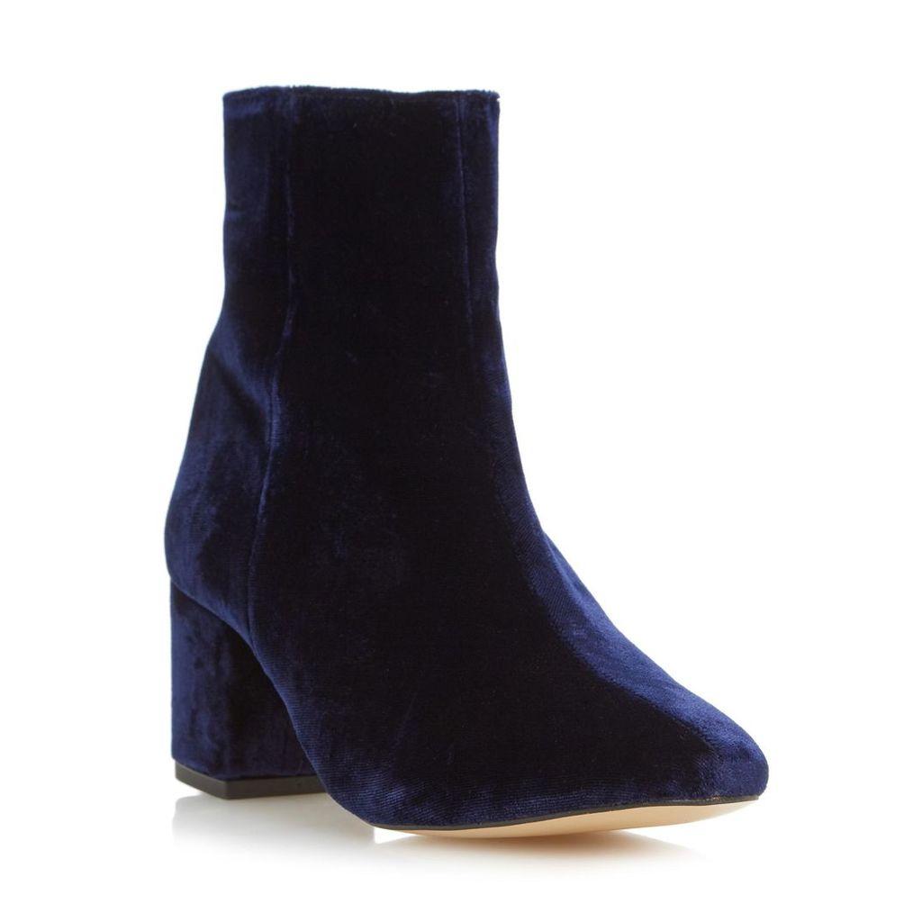 Pebble Block Heel Velvet Ankle Boot