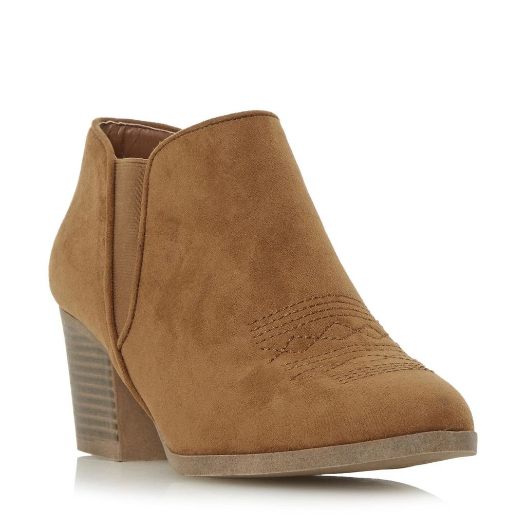 Poppys Stitched Detail Western Ankle Boot