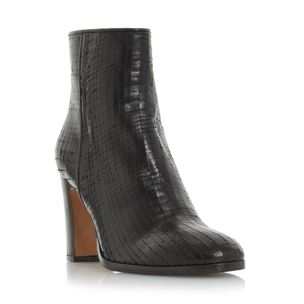 Ozzy Textured Leather Heeled Ankle Boot