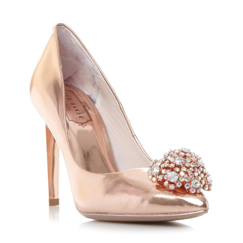 Peetch Brooch Detail Pointed Toe Court Shoe
