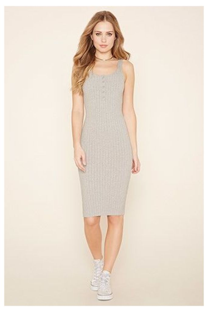 Ribbed Knit Henley Dress