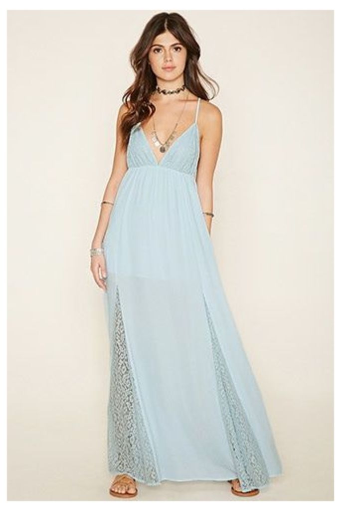 Floral Lace-Paneled Maxi Dress