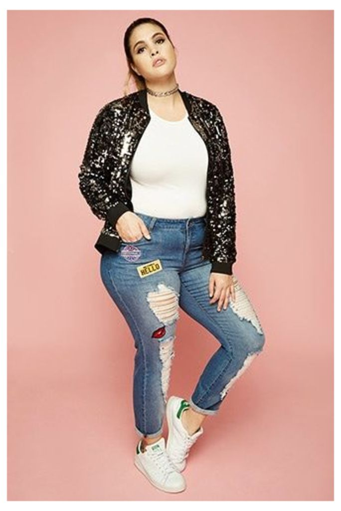Plus Size Boyfriend Patch Jeans