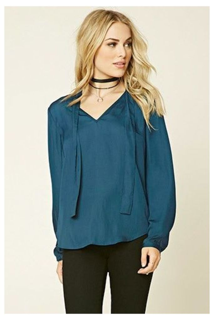 Satin Tie-Neck Top
