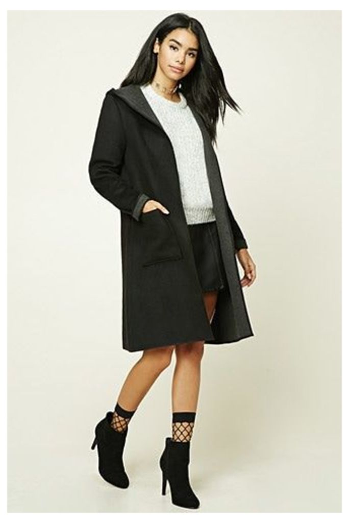 Longline Wool-Blend Hooded Coat