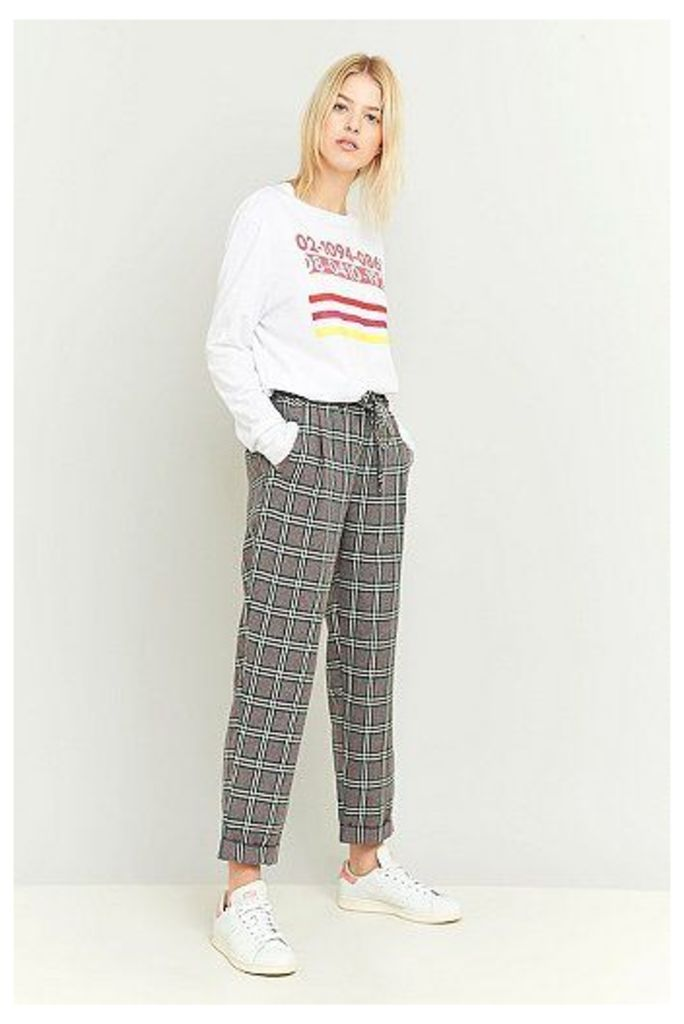 Light Before Dark Tie Front Grey Plaid Trousers, Grey