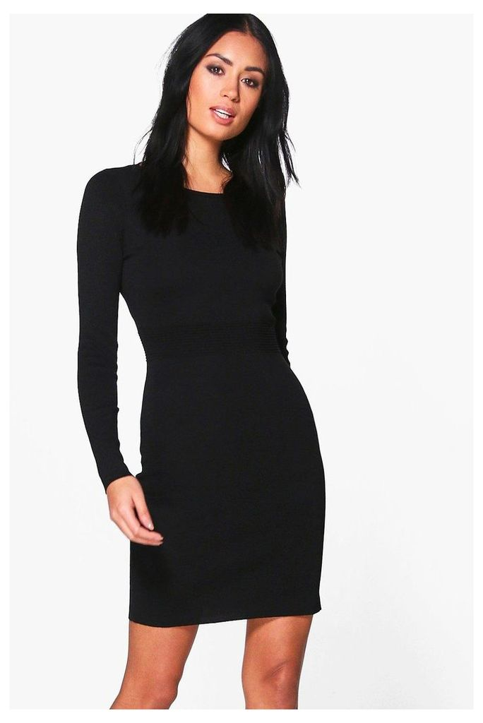 Ribbed Detail Knitted Bodycon Dress - black