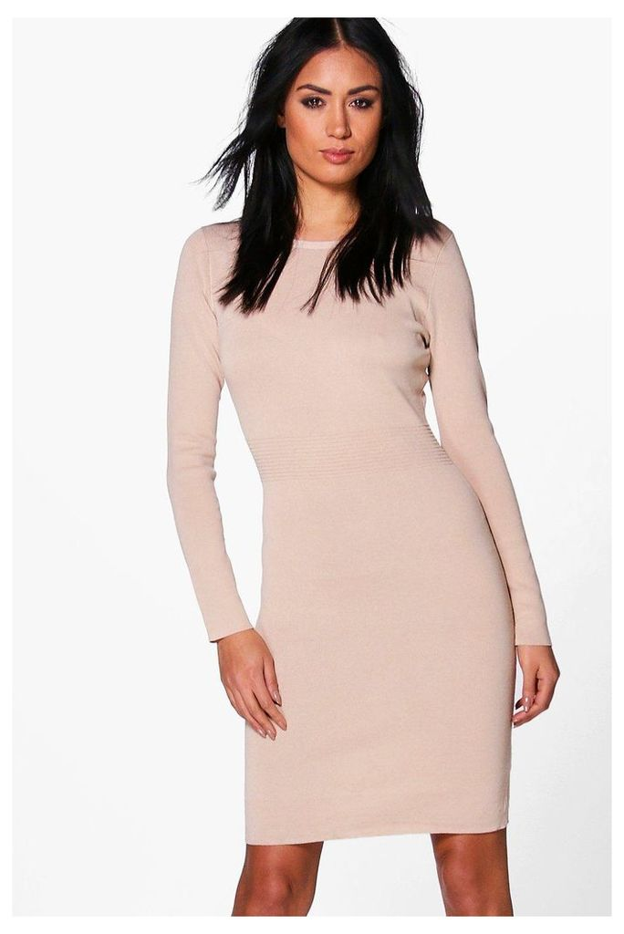 Ribbed Detail Knitted Bodycon Dress - beige