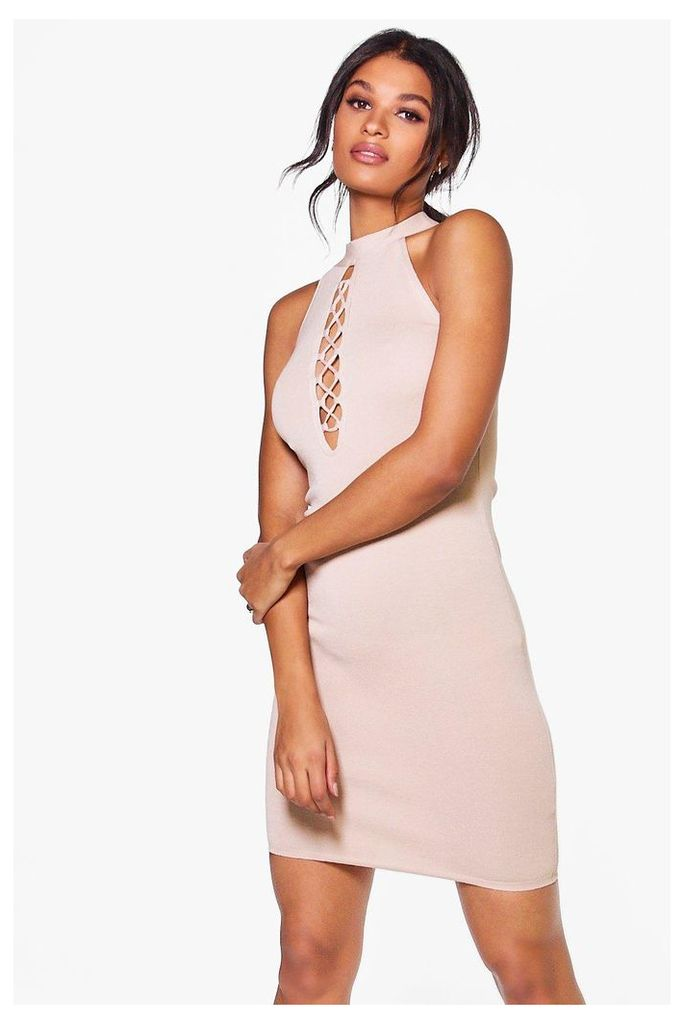 Lace Up High Neck Bodycon Dress - taupe