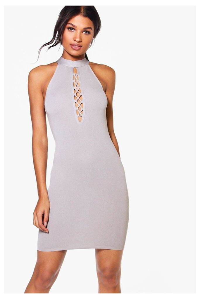 Lace Up High Neck Bodycon Dress - grey