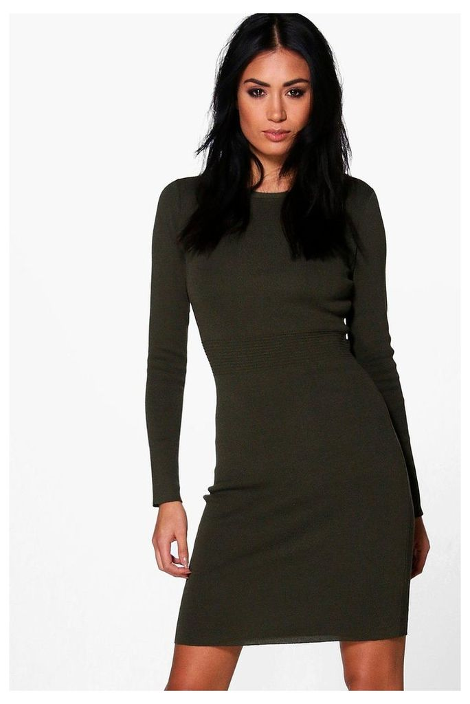 Ribbed Detail Knitted Bodycon Dress - khaki