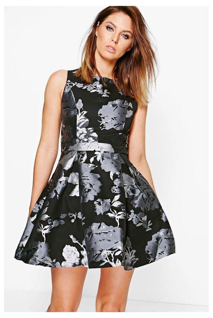 Floral Print Skater Dress - grey