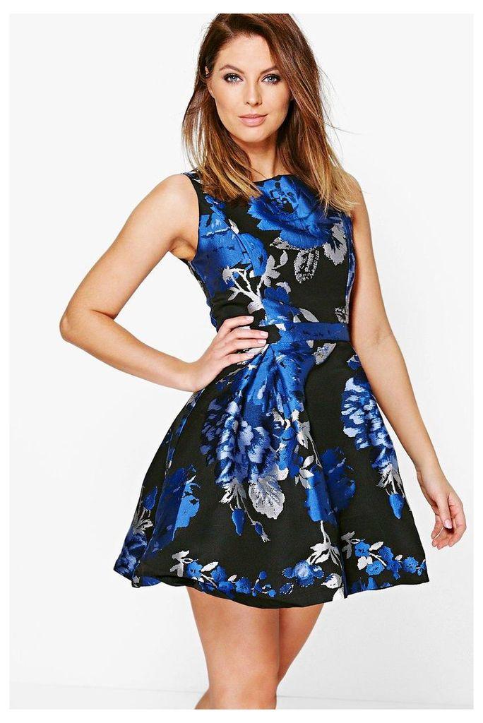 Floral Print Skater Dress - blue