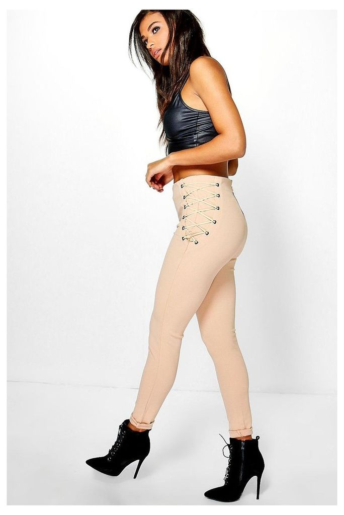 Holly Lace Up Detail Trouser - stone