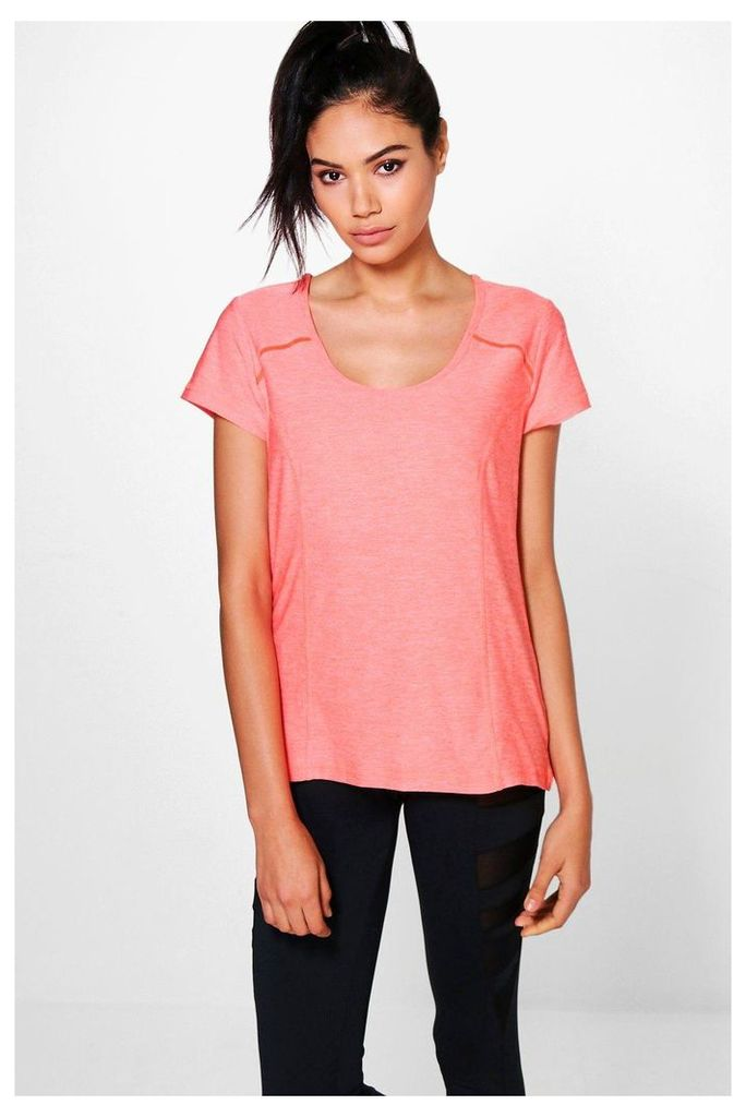 Fit Yoga Tee - coral