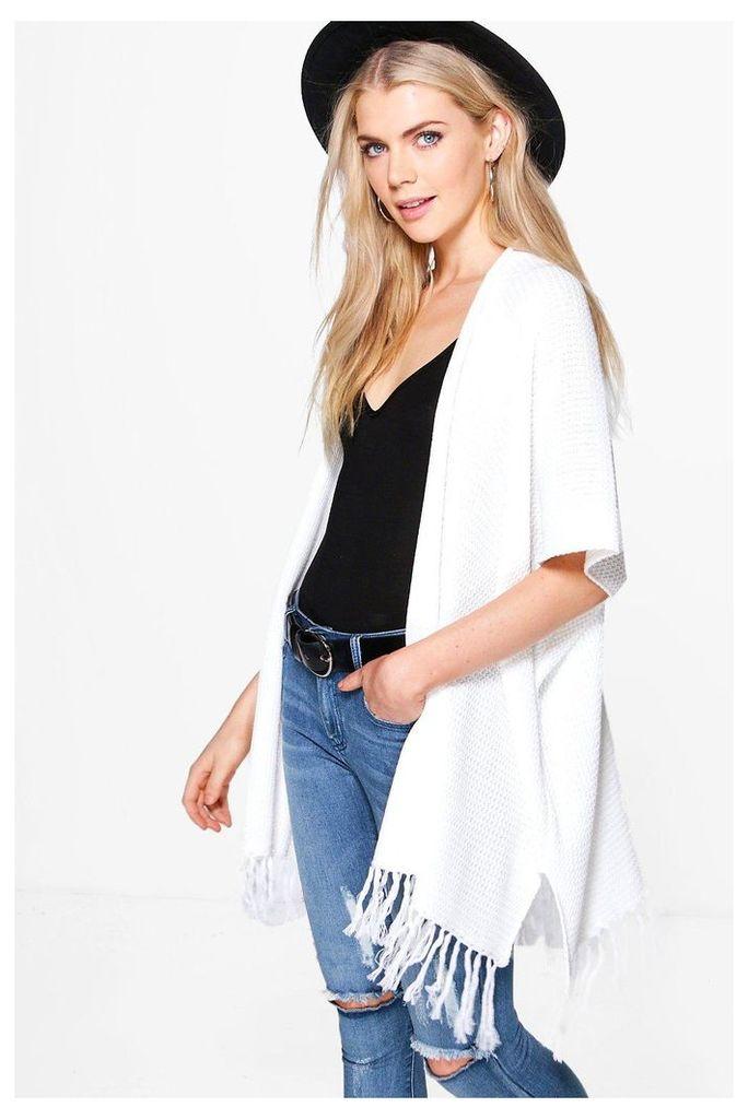 Fringed Sleeve & Hem Cardigan - white