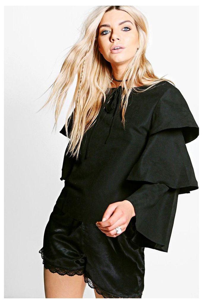 Felicity Tiered Sleeve Tie Top - black