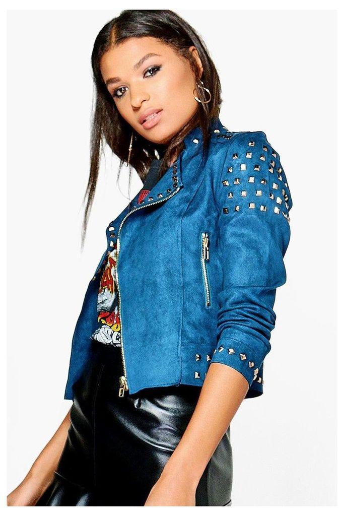 Studded Suedette Jacket - blue