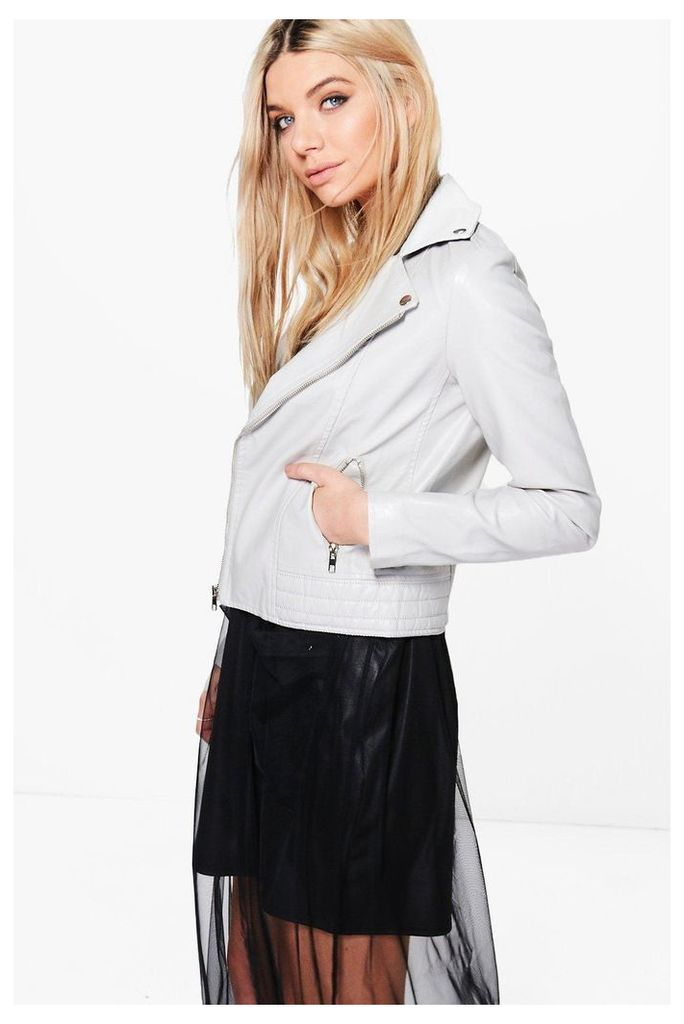 Faux Leather Biker Jacket - grey