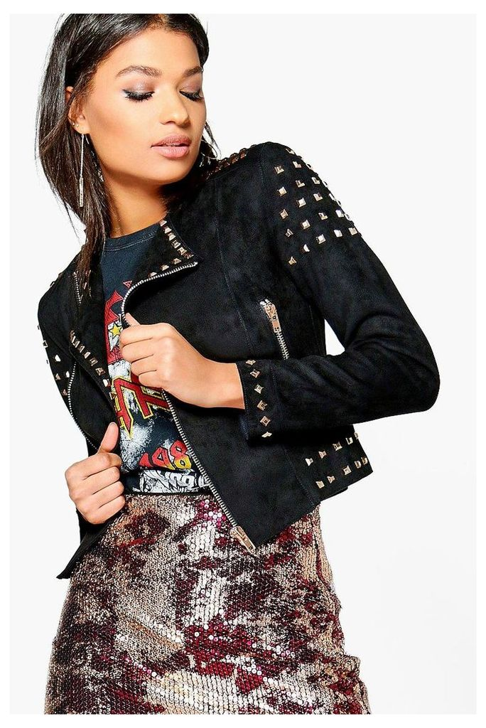 Studded Suedette Jacket - black