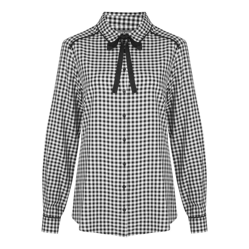 Gingham Check Tie Neck Blouse