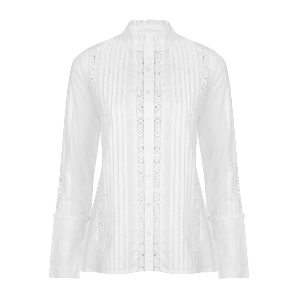High Neck Pintuck Lace Detail Blouse