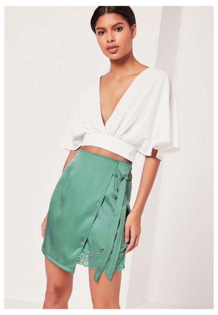 Satin Wrap Asymmetric Hem Lace Mini Skirt Green, Cream
