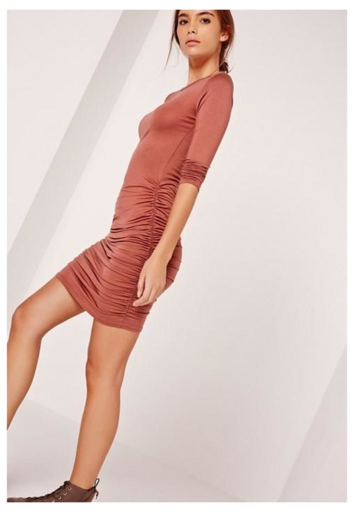Long Sleeve Ruched Bodycon Dress Brown, Brown