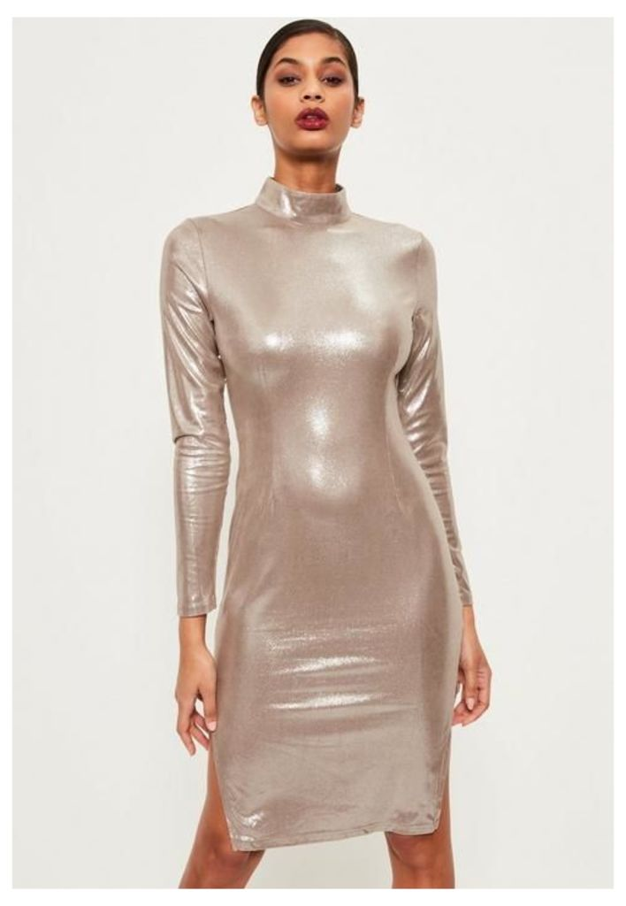 Silver High Neck Foiled Suede Midi Dress, Grey
