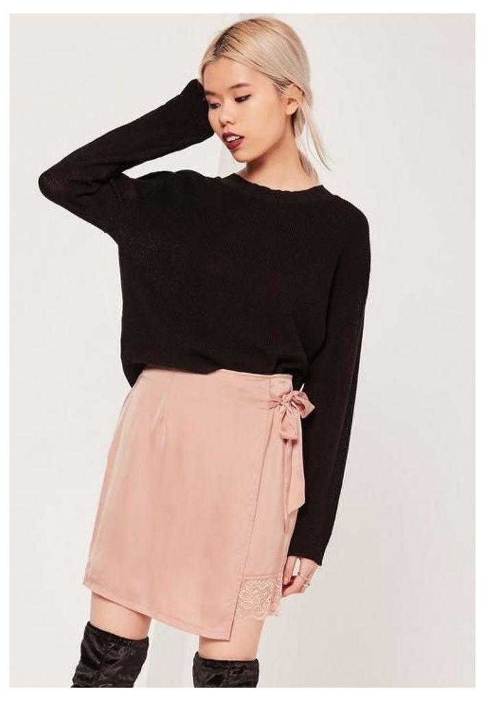 Pink Petite Satin Wrap Asymmetric Lace Hem Mini Skirt, Gold