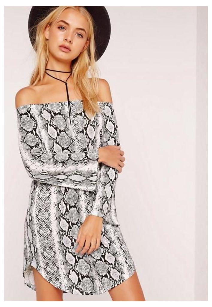 Jersey Snake Print Bardot Dress Multi, Multi